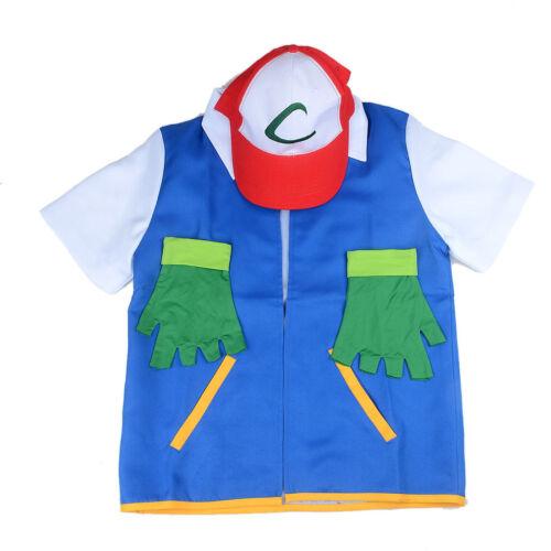 Hat Sets Gloves New Pokemon Ash Ketchum Trainer Costume Cosplay Shirt Jacket