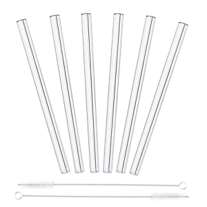 8 x GLASS STRAWS /& CLEANING BRUSH Long Reusable Party Tableware Straight//Bent UK
