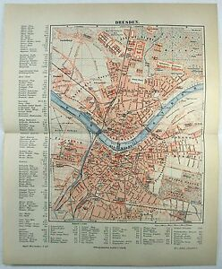 Original-1889-City-Map-of-Dresden-Germany-by-Meyers-Antique