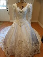 private label by g wedding gown train beads lace size 8 White