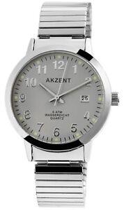 Akzent-Herrenuhr-Grau-Silber-Analog-Datum-Metall-Zugband-Armbanduhr-X2700012004