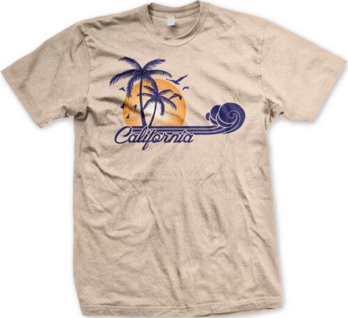 California Sunset Palm Trees Birds Wave Script CA State Beach Love Men/'s T-Shirt