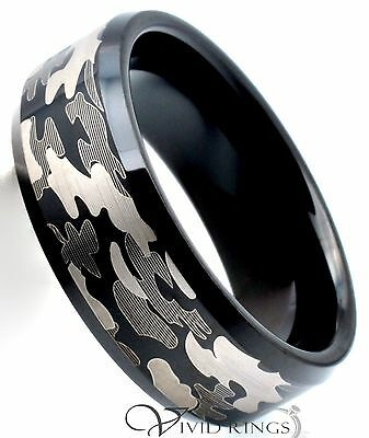 Mens Tungsten Carbide Ring Black Camouflage Band Size 7.5 to 15
