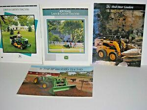 1990's 3 John Deere Lawn & Garden Tractor 1 Skid Steer Loader Brochure Catalog