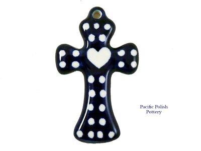 Polish Pottery Stoneware Small Cross Ceramika Artystyczna Poland Heart 612-375