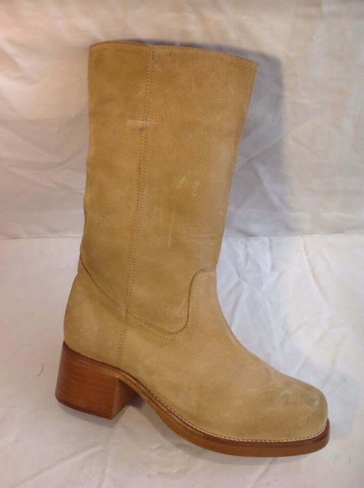 Fiore Beige Mid Calf Suede Boots Size 6