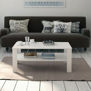 Tavolino-da-Salotto-Tavolo-caffe-te-in-legno-con-Ripiano-Design-Moderno-Bianco