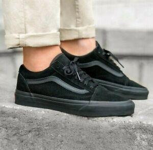 VANS-Old-Skool-Black-Black-Classic-Skate-Shoes-Mens-Sizes