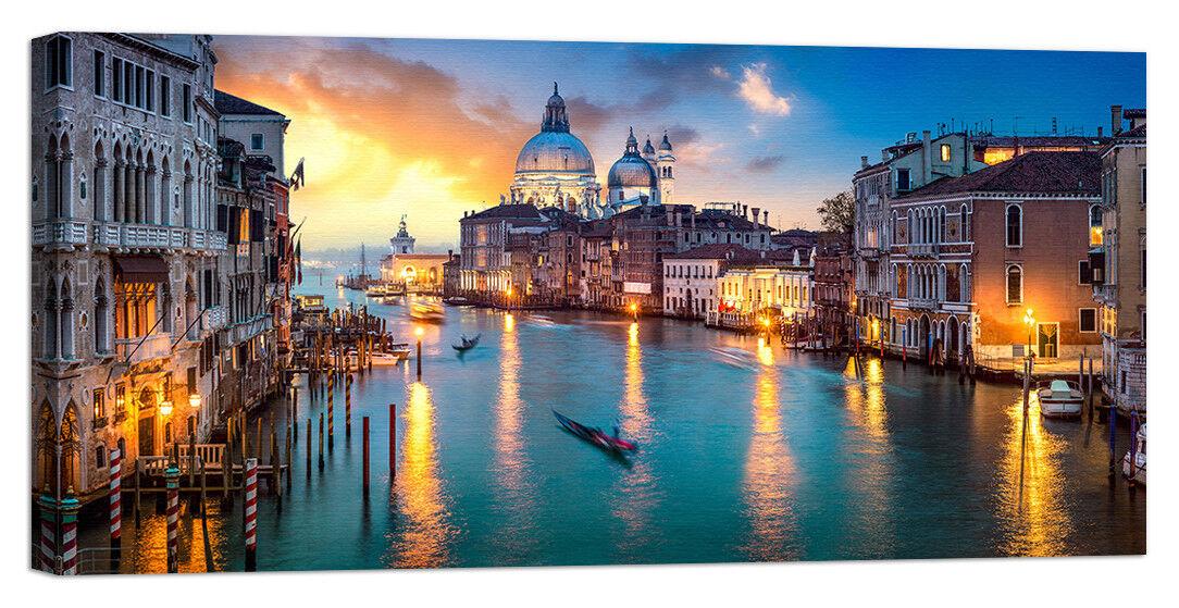 Quadro Stampa su Tela con swarovski venezia panorama notte