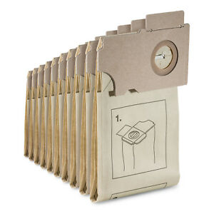 KÄRCHER 10 x Papierfiltertüten für Teppichbürstsauger CV 36 46 CW 50 6.906-097