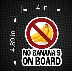 No Bananas On Board Decal Funny Fishing Boat Tuna Car