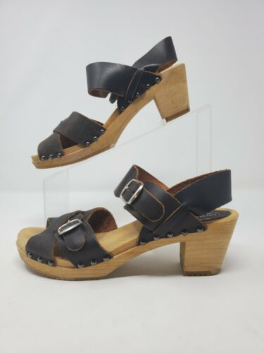 size 7 women/'s open toe clog carved wood high heels bead embroidered shoes high heeled clog Vintage beaded platform clogs