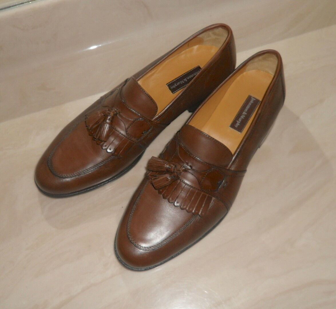 JOHNSTON AND MURPHY MADE IN INDIA BURNISHED KILTIE TASSLE  SLIP ONS 12M