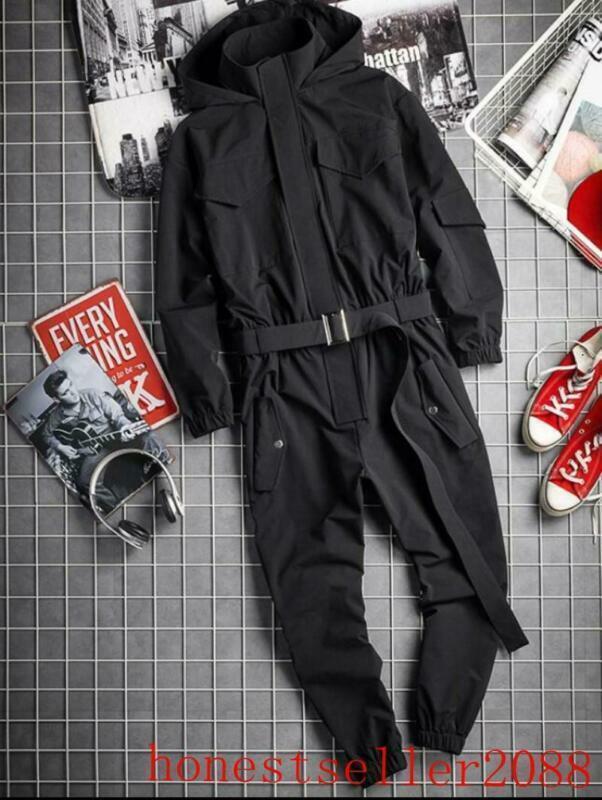 Para Hombre con Capucha Bolsillos Mono Mono Hip-Hop  Tirantes Pantalones Abrigo Traje pantalón  muy popular