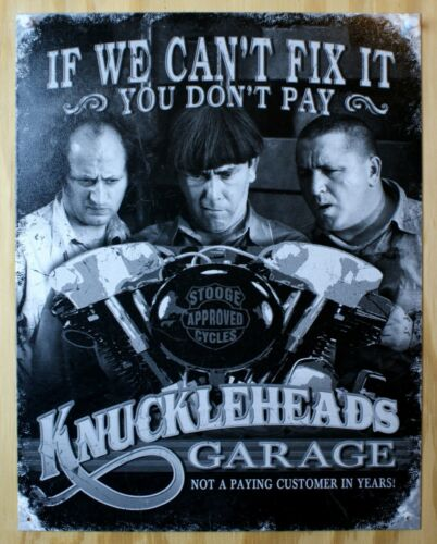 Knucklehead 3 Stooges Metal Sign Picture Garage Funny Auto Shop Decor Made USA