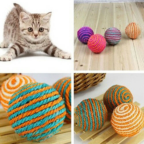 KQ_ Pet Cat Sisal Rope Weave Ball Teaser Play Chewing Rattle Scratch Catch Toy W