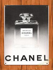 "TIN-UPS TIN SIGN ""Vintage Chanel Ad"" Perfume Woman Paris Wall Decor"