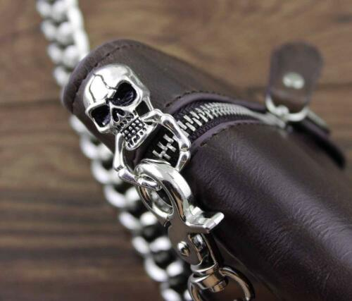 Punk Rock Skull Cross Mens Leather Long Card Money Wallet Purse With Chain Brown