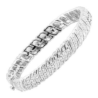 Finecraft 1/4 ct Diamond 'S' Link Tennis Bracelet