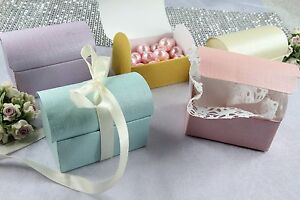 "2.75"" Treasure Chest Favor Box, Wedding Party Jewelry Candy 2-Macaron Gift Boxes"