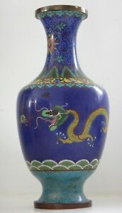 Old-large-chinese-enamel-vase-dragons-chinois-cloisonne-sacred-pearl-14-inches