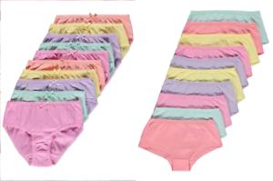 Filles Pack De 10 pastel court Breifs Slips Sous-vêtements 1.5-14 ans