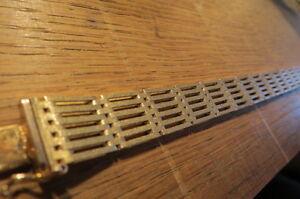 Bezauberndes-925-Silber-Armband-vergoldet-Matt-Designer-Vintage-Modern-Top