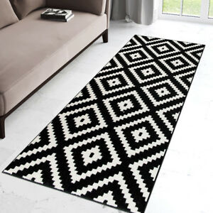 Details About Modern Black White Hall Runner Geometric Pattern Short Pile Rug For Hallway