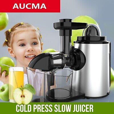 AUCMA Entsafter Slow Juicer 150W Saftpresse Edelstahl Fruchtpresse 2 in 1 Gerät
