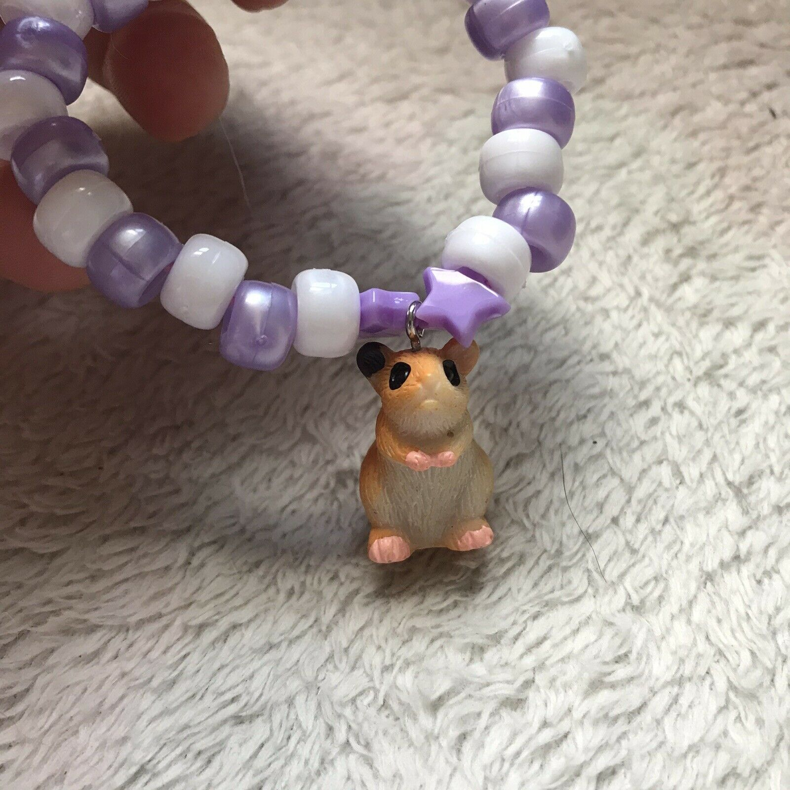 Pastel Purple White Hamster Bracelet Fairy Kei Kawaii Syrian Animal Lover Small