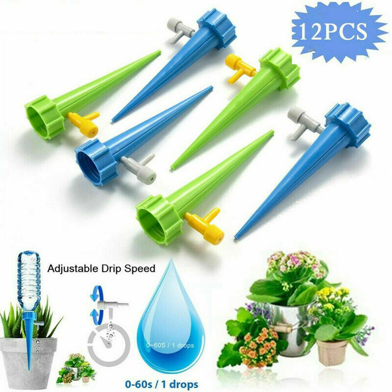 12Pack Plant Water Funnel Self Watering Spikes Slow Release Control Valve Switch