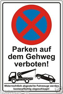 schild parken auf dem gehweg verboten parkverbot parkplatzschild parkschild p194 ebay. Black Bedroom Furniture Sets. Home Design Ideas