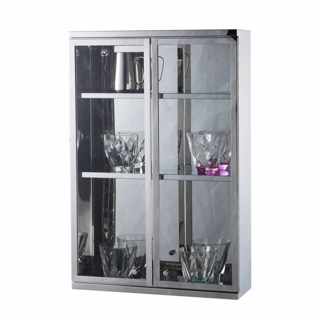 Modern Wall Mount Storage Cabinet Bathroom Stainless Steel W Shelves Silver