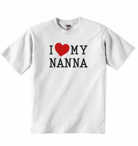 I Love My Nanna New Personalised Baby T-shirt Tees Clothing for Boys Girls