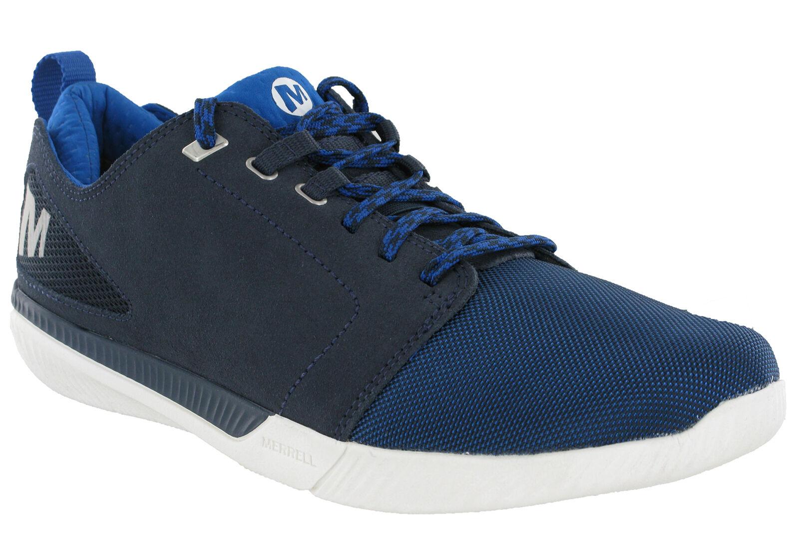 Merrell Roust Frenzy Azul Marino Zapatillas Zapatos De Gamuza Cuero Ligero MENS ACOLCHADO