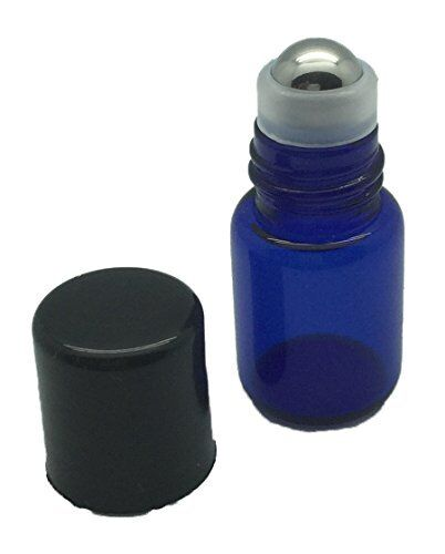 2ml Blue Glass Roller Bottles with Metal Rollerballs w//Pipette 12
