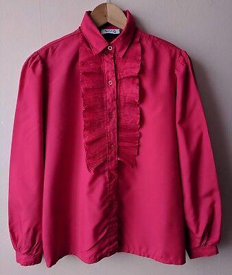70s 80s Vintage Red Ruffle Camicia 14 Andro Dandy Femme Daddy Segreteria-mostra Il Titolo Originale