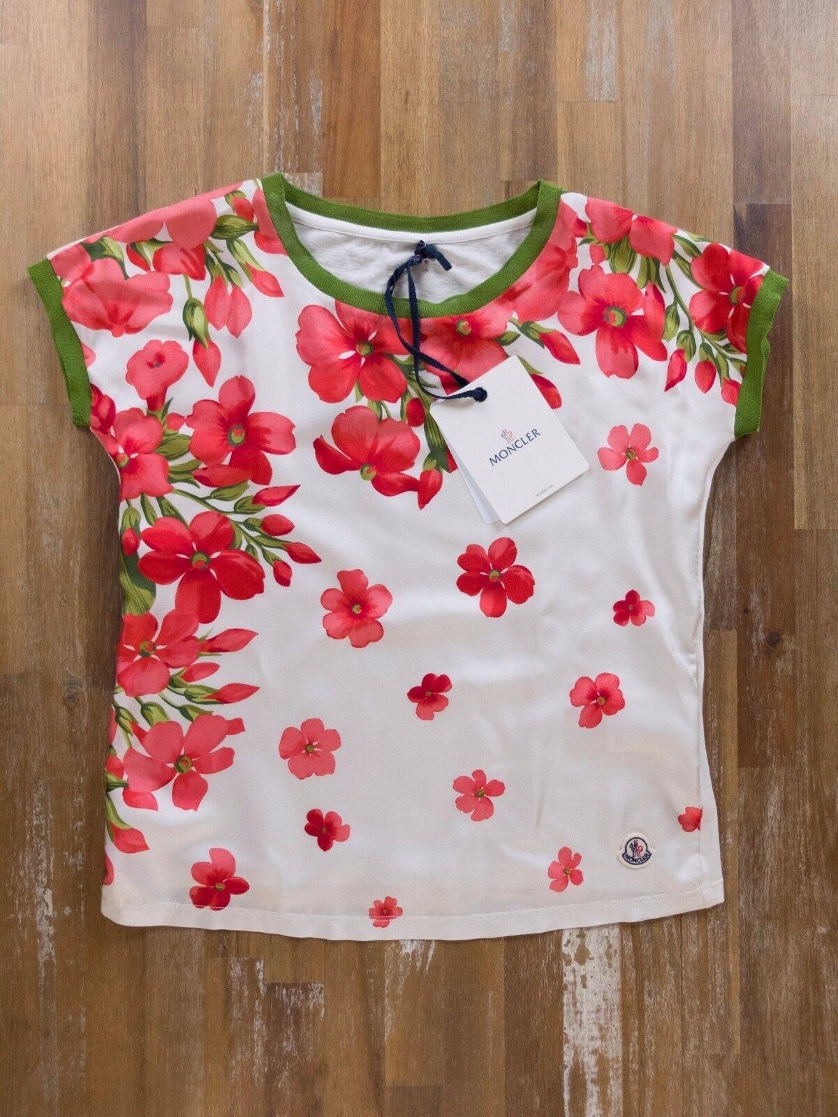 MONCLER silk floral t-shirt blouse authentic - Größe XS - NWT