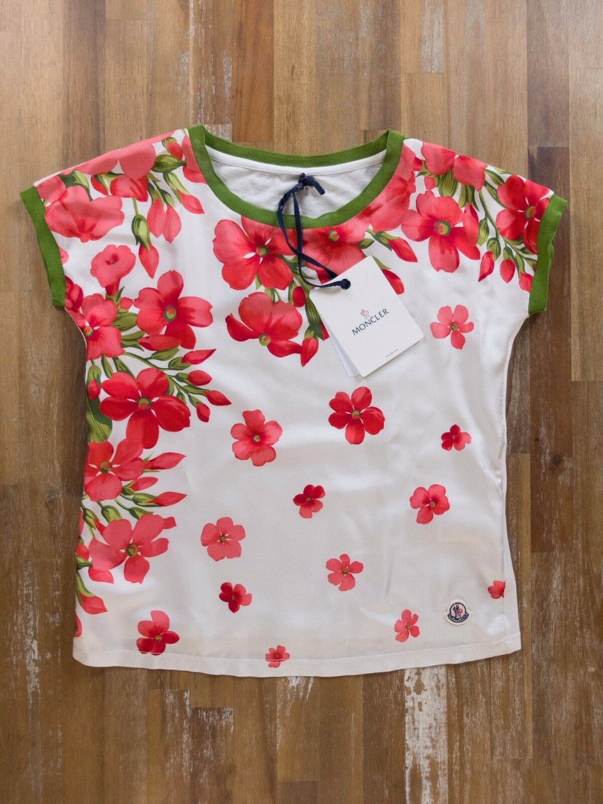 Moncler Blouse Silk Floral T shirt Italy Ladies Authentic Size XS