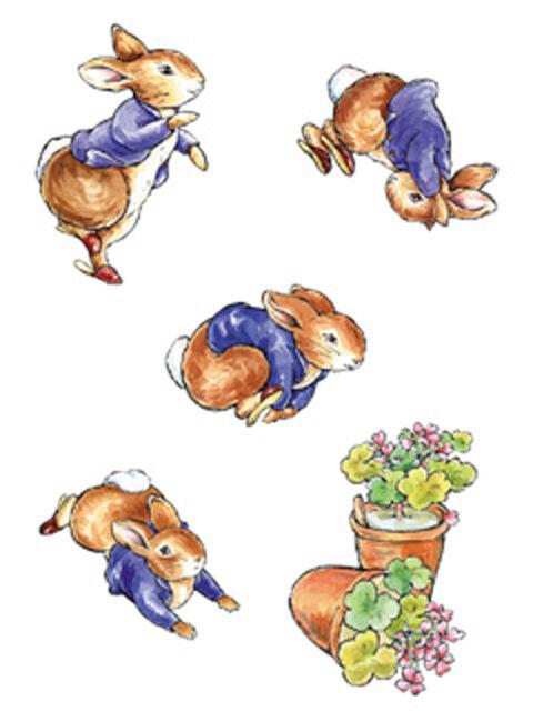 Tumbling Peter Rabbit 25 Beatrix Potter Wallpaper Cutouts Stickers Decal Wallies