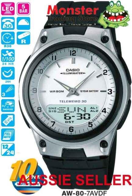 CASIO WATCH AW80 AW-80-7AV WORLD TIME TELEMEMO 12 MONTH WARRANTY