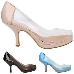 9e1009b0eb4 WOMAN LADIES CASUAL SMART WORK MID HEEL PERSPEX COURT PUMP SHOES ...