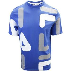 FILA-Men-039-s-Blue-Grey-White-Letters-S-S-T-Shirt-S02B