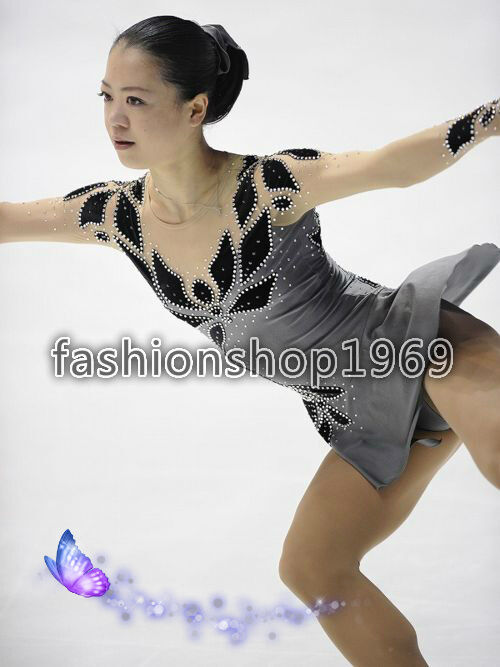 Concurso de disfraces de patinaje gris varilla de patinaje girando disfraces x310