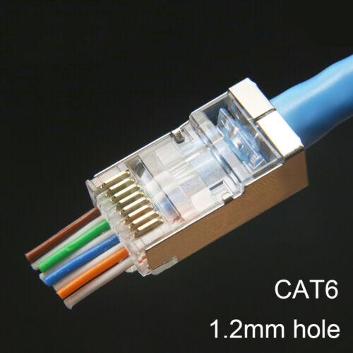 EZ RJ45 connector cat6 ethernet cable plug 8p8c network  stp cat6 socket 10PCS
