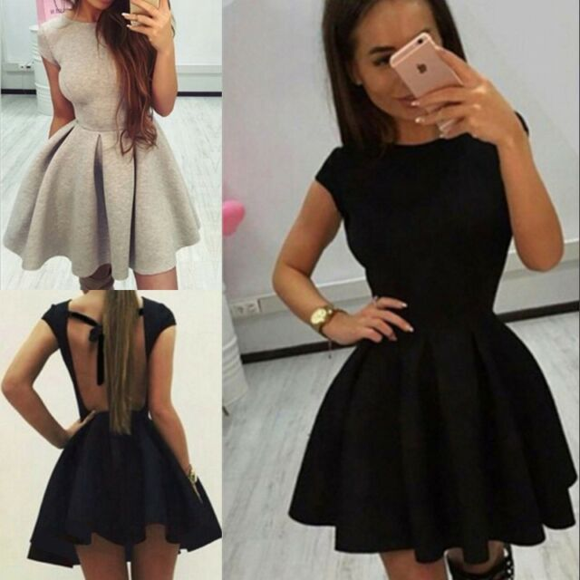 Women Sexy Backless Short Sleeve Skater Summer Cocktail Evening Party Mini Dress
