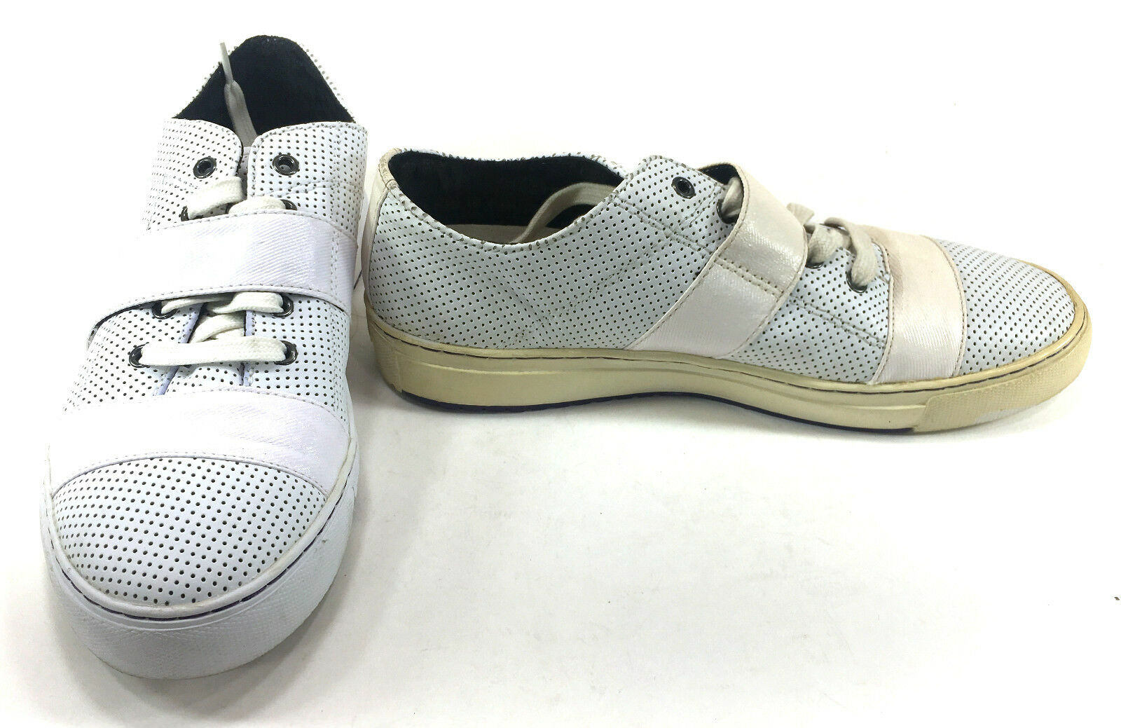 1805814c46e3 PF PF PF Flyers Shoes Perforated Leather Trainer Lo White Sneakers Size 8  cee57e