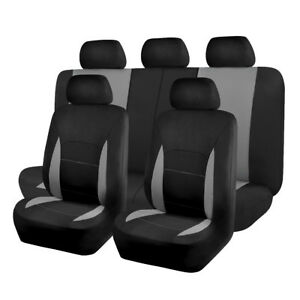 Car-Seat-Covers-set-washable-lady-truck-SUV-grey-gray-charcoal-bench-split-40-60