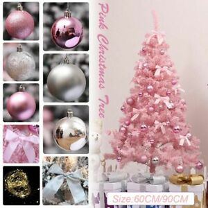 Artificial Pink Christmas Tree with LED Home Decoration Durable PVC Ornament