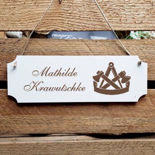Personalisiertes Schild « Zimmermann » Türschild Name Zimmerer Zimmerei Tischler
